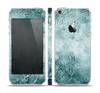 The Grungy Teal Wavy Abstract Surface Skin Set for the Apple iPhone 5