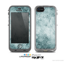 The Grungy Teal Wavy Abstract Surface Skin for the Apple iPhone 5c LifeProof Case