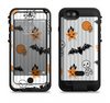the halloween icons over gray white striped surface  iPhone 6/6s Plus LifeProof Fre POWER Case Skin Kit