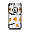 The Halloween Icons Over Gray & White Striped Surface  Apple iPhone 6 Otterbox Commuter Case Skin Set