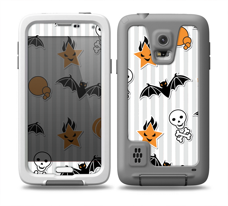 The Halloween Icons Over Gray & White Striped Surface  Skin for the Samsung Galaxy S5 frē LifeProof Case
