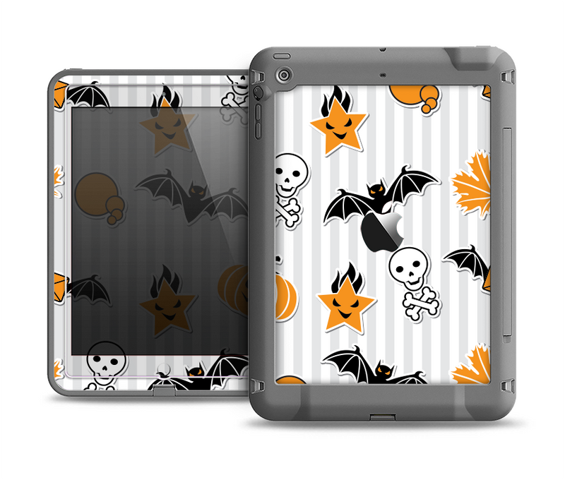 The Halloween Icons Over Gray & White Striped Surface  Apple iPad Air LifeProof Fre Case Skin Set