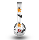 The Halloween Icons Over Gray & White Striped Surface Skin for the Beats by Dre Original Solo-Solo HD Headphones