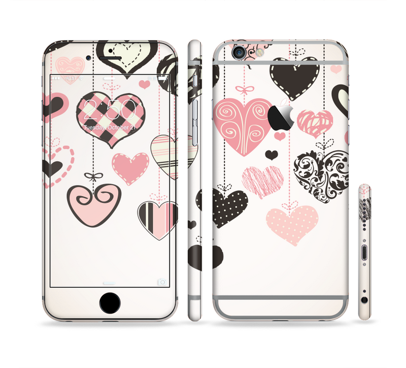 The Hanging Styled-Hearts Sectioned Skin Series for the Apple iPhone 6s