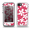 The Hanging White Vector Floral Over Red Skin for the iPhone 5-5s OtterBox Preserver WaterProof Case