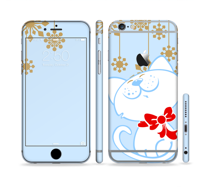 The Happy Winter Cartoon Cat Sectioned Skin Series for the Apple iPhone 6s