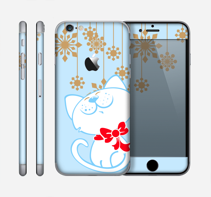 The Happy Winter Cartoon Cat Skin for the Apple iPhone 6