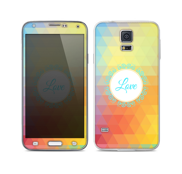 The HighLighted Colorful Triangular Love Skin For the Samsung Galaxy S5