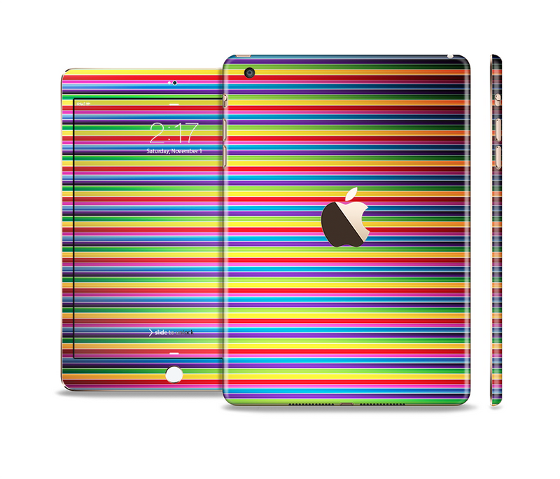The Horizontal Multicolored Stripes Full Body Skin Set for the Apple iPad Mini 3
