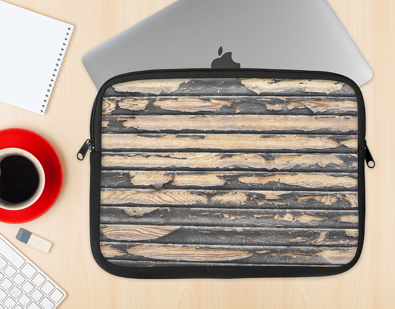 The Horizontal Peeled Dark Wood Ink-Fuzed NeoPrene MacBook Laptop Sleeve
