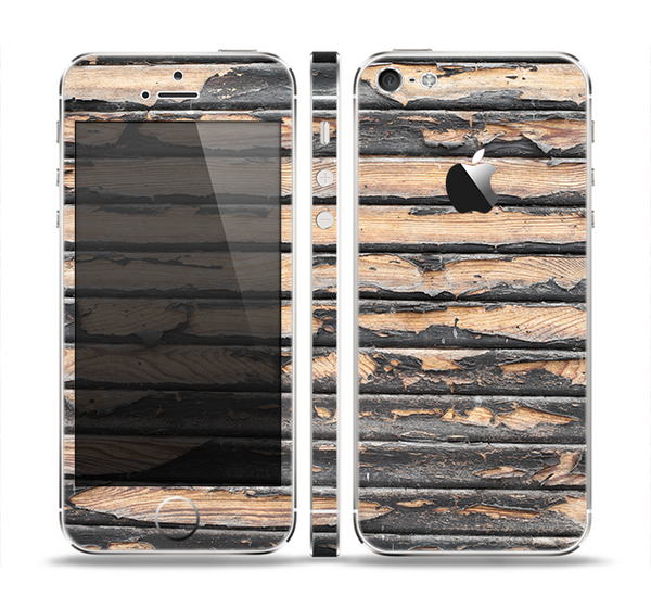 The Horizontal Peeled Dark Wood Skin Set for the Apple iPhone 5