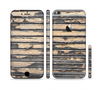 The Horizontal Peeled Dark Wood Sectioned Skin Series for the Apple iPhone 6