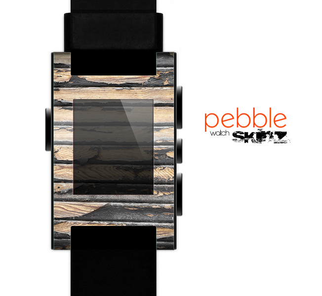 The Horizontal Peeled Dark Wood Skin for the Pebble SmartWatch