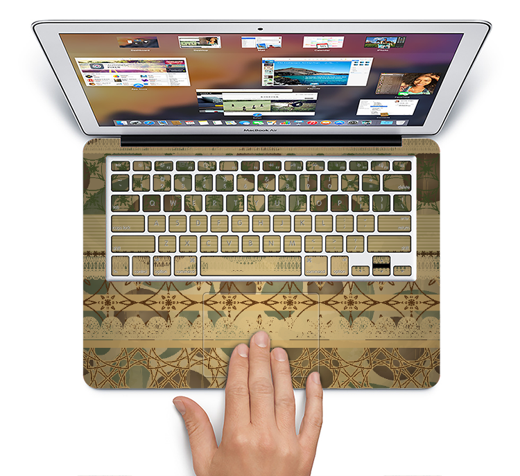 "The Horizontal Tan & Green Vintage Pattern Skin Set for the Apple MacBook Pro 15"" with Retina Display"