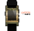 The Horizontal Tan & Green Vintage Pattern Skin for the Pebble SmartWatch