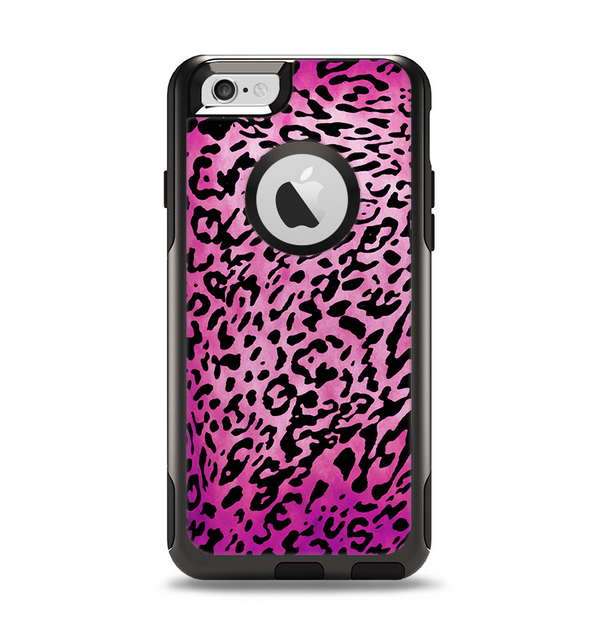 The Hot Pink Cheetah Animal Print Apple iPhone 6 Otterbox Commuter Case Skin Set