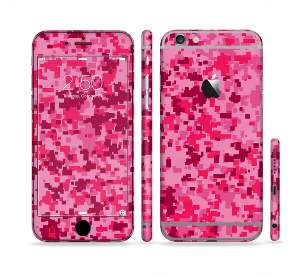 The Hot Pink Digital Camouflage Sectioned Skin Series for the Apple iPhone 6 Plus