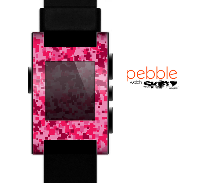 The Hot Pink Digital Camouflage Skin for the Pebble SmartWatch