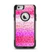 The Hot Pink Striped Cheetah Print Apple iPhone 6 Otterbox Commuter Case Skin Set