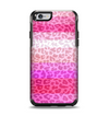 The Hot Pink Striped Cheetah Print Apple iPhone 6 Otterbox Symmetry Case Skin Set