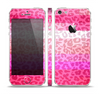 The Hot Pink Striped Cheetah Print Skin Set for the Apple iPhone 5