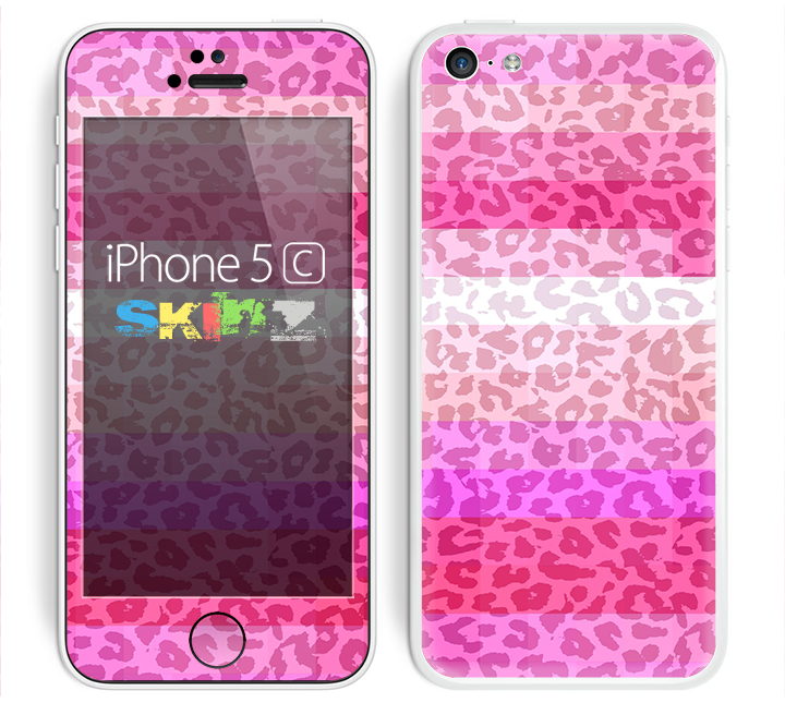The Hot Pink Striped Cheetah Print Skin for the Apple iPhone 5c