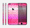 The Hot Pink Striped Cheetah Print Skin for the Apple iPhone 6