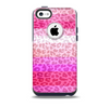 The Hot Pink Striped Cheetah Print Skin for the iPhone 5c OtterBox Commuter Case