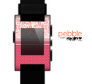 The Hot Pink Swirly Pattern with Polka Dots Skin for the Pebble SmartWatch