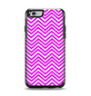 The Hot Pink Thin Sharp Chevron Apple iPhone 6 Otterbox Symmetry Case Skin Set