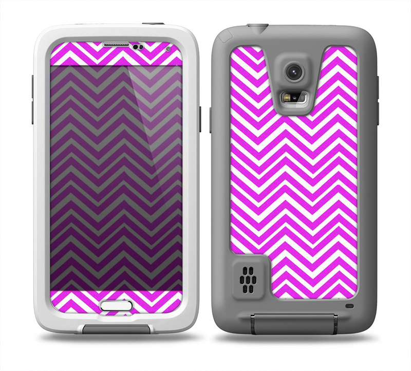 The Hot Pink Thin Sharp Chevron Skin for the Samsung Galaxy S5 frē LifeProof Case