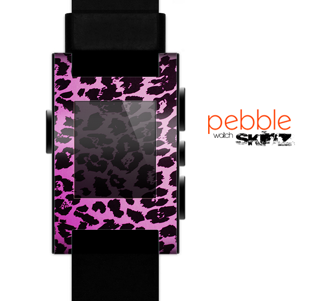The Hot Pink Vector Leopard Print Skin for the Pebble SmartWatch