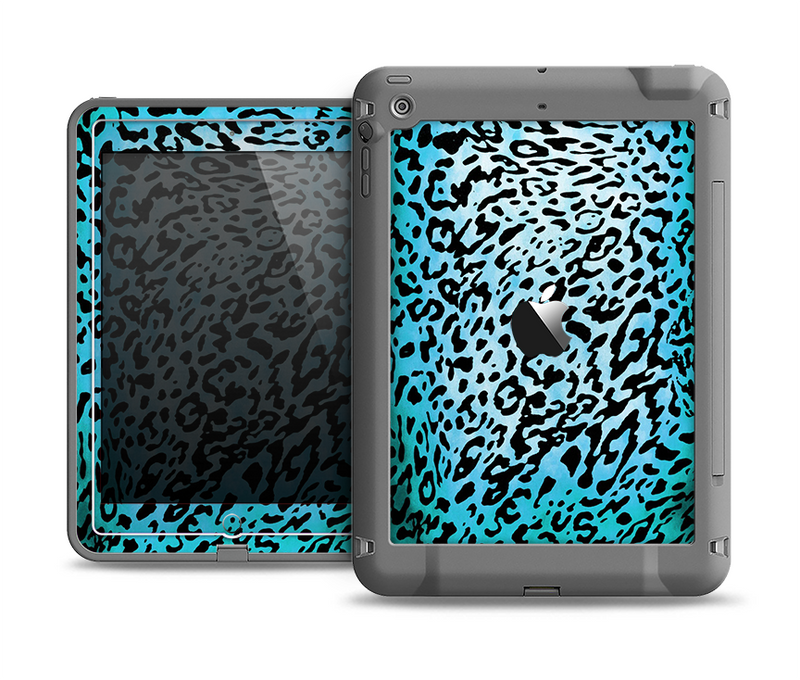 The Hot Teal Cheetah Animal Print Apple iPad Air LifeProof Fre Case Skin Set