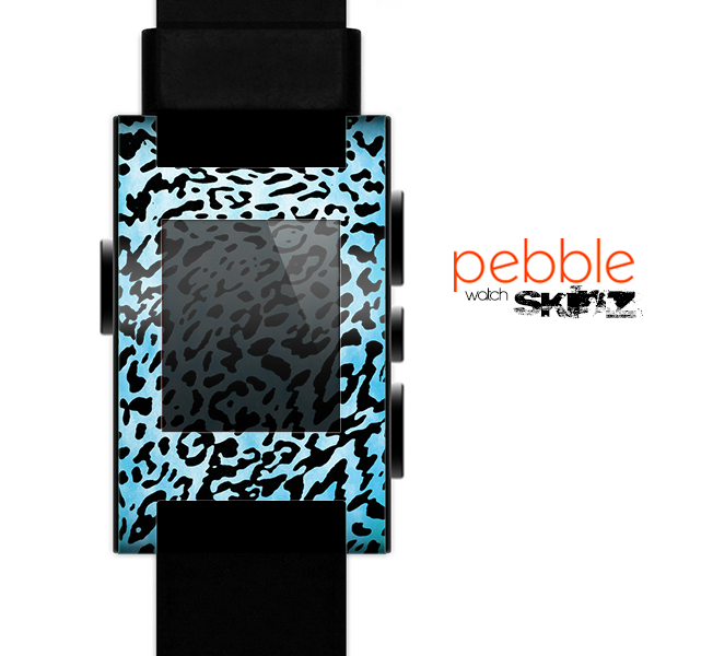 The Hot Teal Cheetah Animal Print Skin for the Pebble SmartWatch