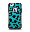 The Hot Teal Vector Leopard Print Apple iPhone 6 Otterbox Commuter Case Skin Set