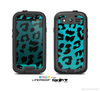 The Hot Teal Vector Leopard Print Skin For The Samsung Galaxy S3 LifeProof Case