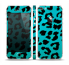 The Hot Teal Vector Leopard Print Skin Set for the Apple iPhone 5