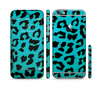 The Hot Teal Vector Leopard Print Sectioned Skin Series for the Apple iPhone 6 Plus