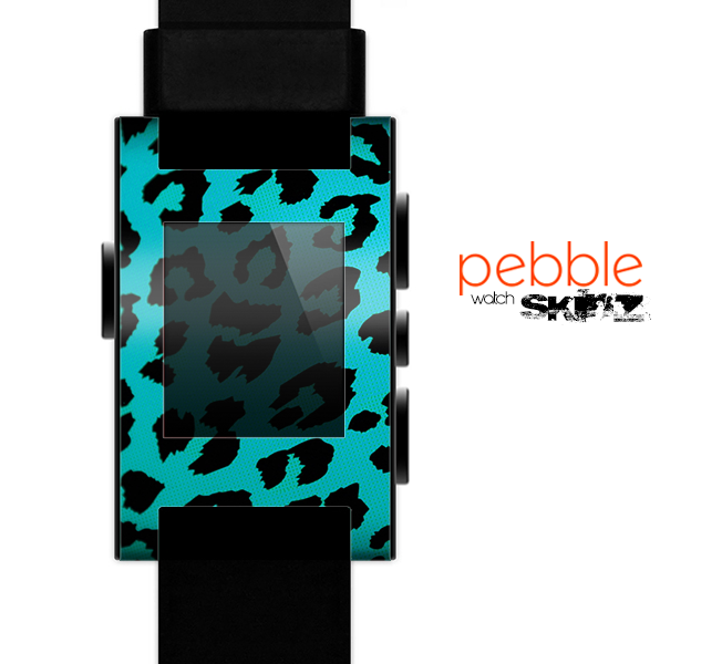 The Hot Teal Vector Leopard Print Skin for the Pebble SmartWatch