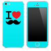 The I Love Mustache Solid Blue Skin for the iPhone 3, 4-4s, 5-5s or 5c