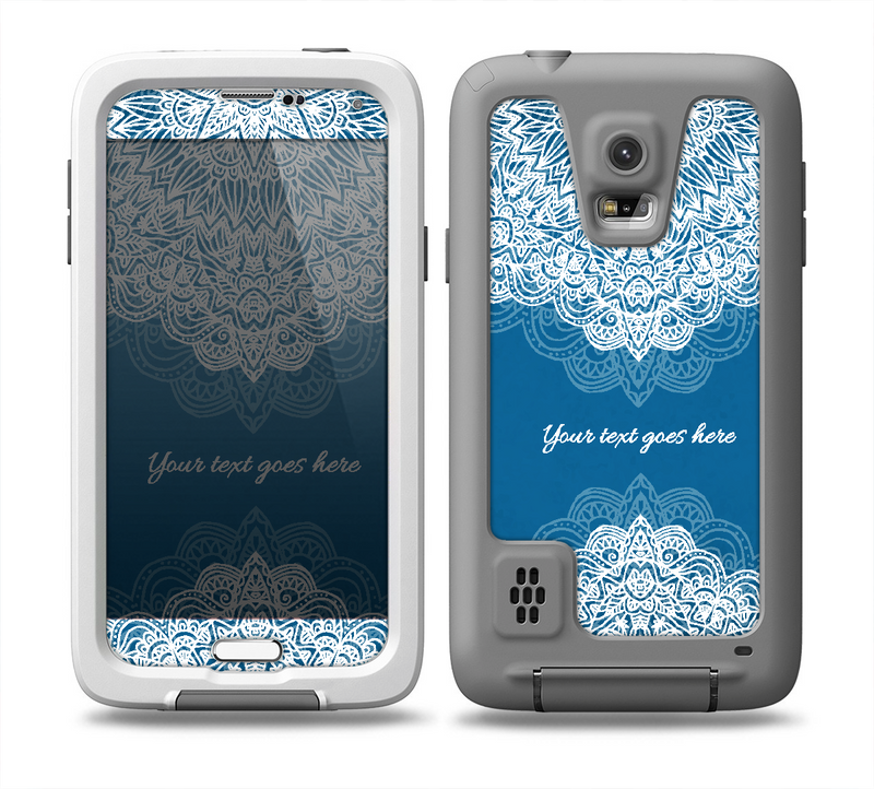 The Intricate Blue & White Snowflake Name Script  Skin for the Samsung Galaxy S5 frē LifeProof Case