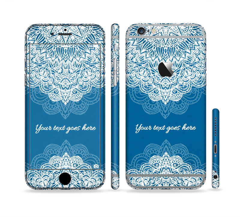 The Intricate Blue & White Snowflake Name Script Sectioned Skin Series for the Apple iPhone 6s