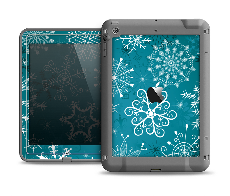 The Intricate Snowflakes with Green Background Apple iPad Air LifeProof Fre Case Skin Set
