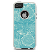 The Intricate Teal Floral Pattern Skin For The iPhone 5-5s Otterbox Commuter Case