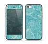 The Intricate Teal Floral Pattern Skin Set for the iPhone 5-5s Skech Glow Case