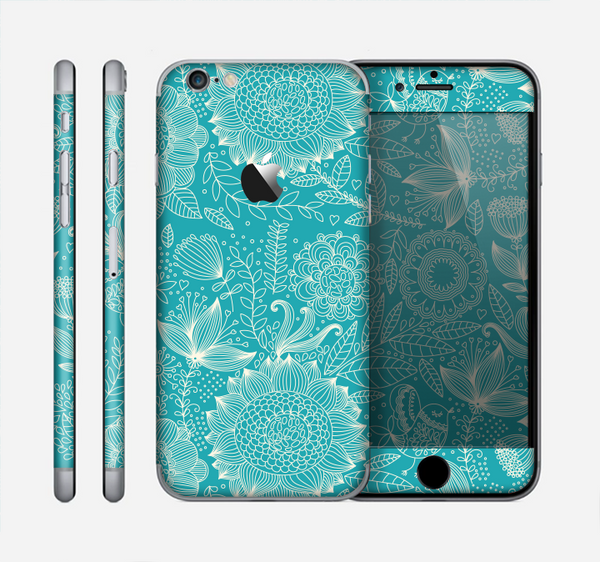 The Intricate Teal Floral Pattern Skin for the Apple iPhone 6