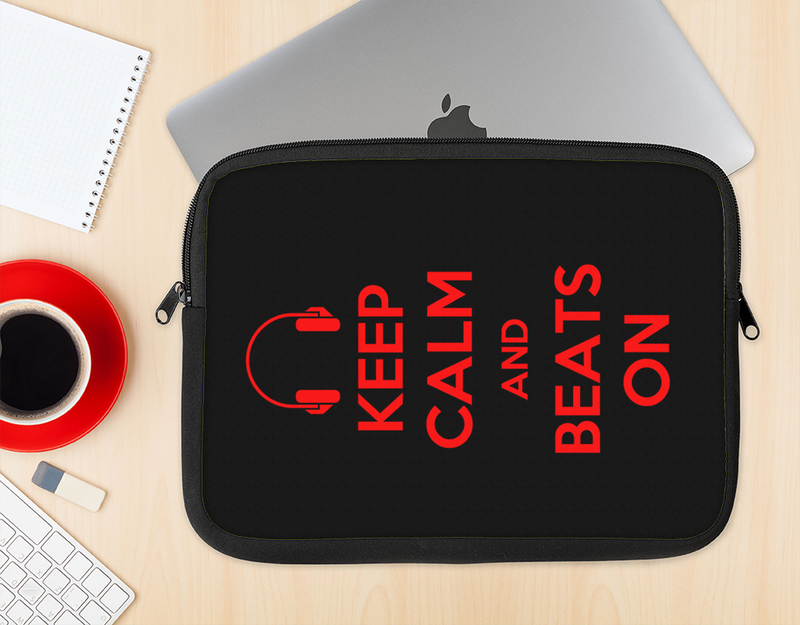 The Keep Calm & Beats On Red Ink-Fuzed NeoPrene MacBook Laptop Sleeve