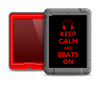 The Keep Calm & Beats On Red Apple iPad Air LifeProof Nuud Case Skin Set