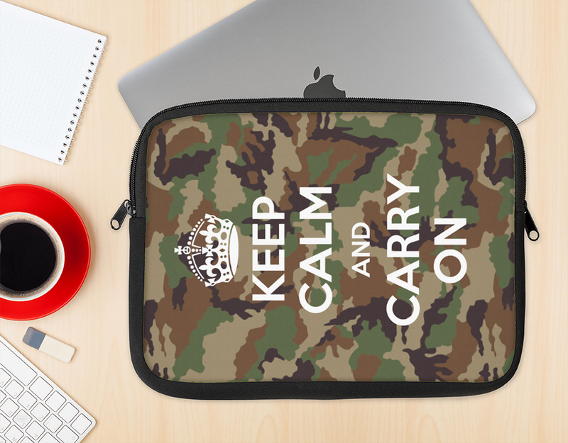The Keep Calm & Carry On Camouflage Ink-Fuzed NeoPrene MacBook Laptop Sleeve
