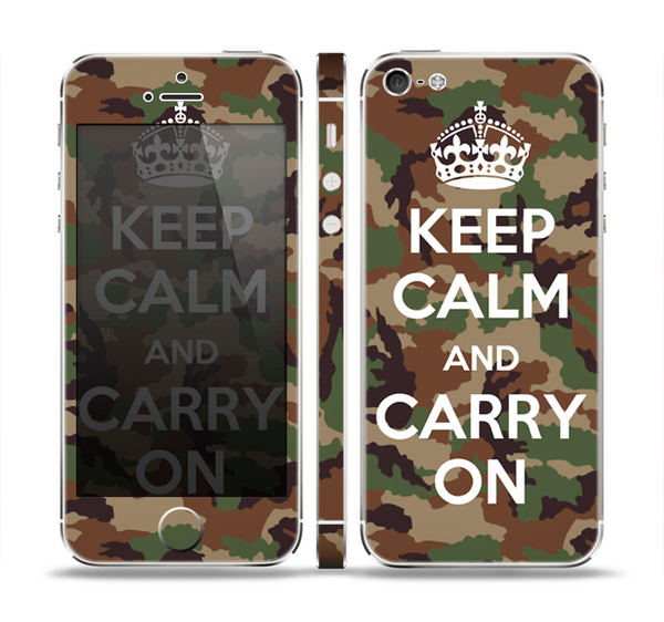The Keep Calm & Carry On Camouflage Skin Set for the Apple iPhone 5